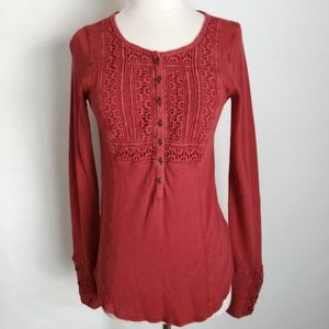 NWT Lucky Brand Crochet Thermal Waffle Henley Top